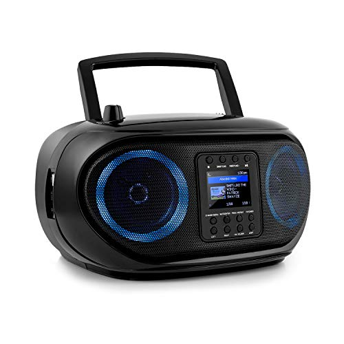 auna Roadie Smart Boombox, SmartRadio: Internetradio/DAB+ / UKW, CD-Player, Stereoanlage, USB-Port, MP3, Bluetooth, 3,5 mm-Cinch-Klinke-AUX-Eingang, mehrfarbige LED-Beleuchtung, schwarz