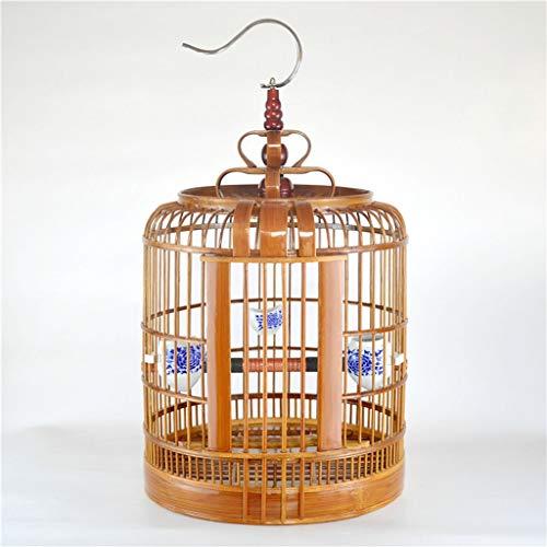 DXIUMZHP Jaula pajaros Jaula para pajaros Jaula Artesanal Antigua Jaula De Cuero Tres De Bambú Jaula De Pájaros Grandes Jaula De Pájaros del Tordo De Starling De Pájaros Fácil De Transportar