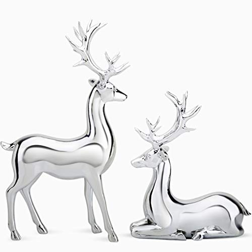 Statues Home Statue Decorations, Living Room Art Decorations Sculpture, Office Animals Sculptures Ornaments, Figurine Home Art Decoration (Color : Silver, Size : A Pair)