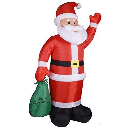 Monzana Aufblasbarer Weihnachtsmann XL 180cm LED Beleuchtet Befestigungsmaterial Weihnachtsdeko Santa draußen Deko Figur