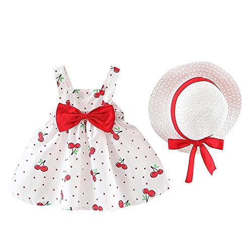 YEBIRAL Baby Mädchen Kleid Ärmellose Kirschdruck Polka Dots Bowknot Rüschen Babykleidung Kleinkind Prinzessin Sommerkleider mit Sonnenhut