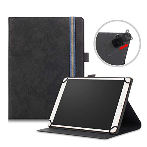 TOPCASE for 9/10.1 Inch Tablet Case Universal, Stand Folio Cover for All 9' 10' 10.1' (Fits Vankyo MatrixPad/Dragon Touch/Teclast/Google/Asus/Lenovo/LG) Android Tablet,Black