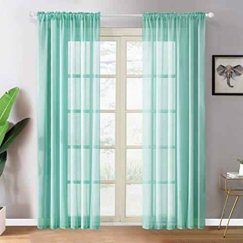 YOKISTG Faux Linen Teal Sheer Curtains 96 Inches Long Rod Pocket Window Curtains for Bedroom Living Room, 2 Panels