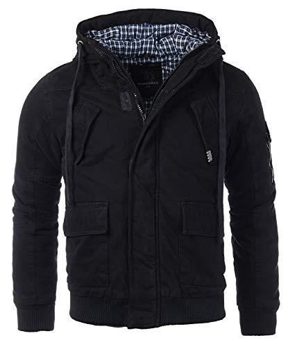 Young & Rich warme gefütterte Herren Winter Jacke Parka Mantel Winterjacke 4003, Grösse:3XL, Farbe:Schwarz