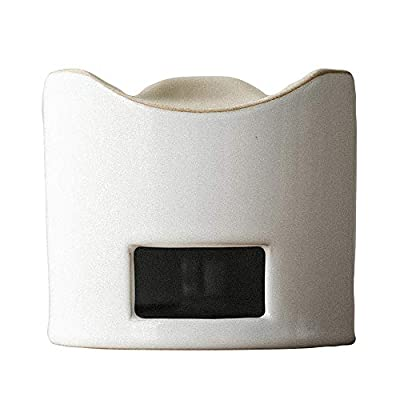 WENSHUO Ceramic Tea Warmer, Tea Light Candle Holder, Moon White Glaze, Home Decor