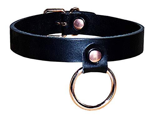 Edles BDSM Halsband Halsfessel Fessel mit Rundring/SM Fetisch/Handarbeit (Rundring Roségold)