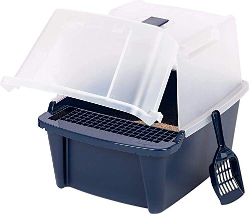 Caja de arena grande con capó dividida con cucharada y rejilla para gatos de plástico arena para gatos (color: azul marino, tamaño: grande) JoinBuy.R