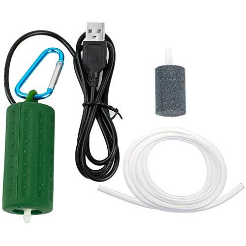 Apofly Bomba de Aire de la Bomba del Acuario del Tanque portátil USB Mini Tanque de Pescados silenciosa Bomba de oxígeno Silencio Ahorro de energía Accesorios Acuario Ejército Pond Supplies (Verde)