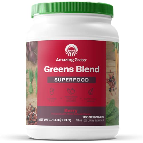 Amazing Grass Greens Blend Superfood: Super Greens Powder with Spirulina, Chlorella, Beet Root Powder, Digestive Enzymes & Probiotics, Berry, 100 Servings (Packaging May Vary)