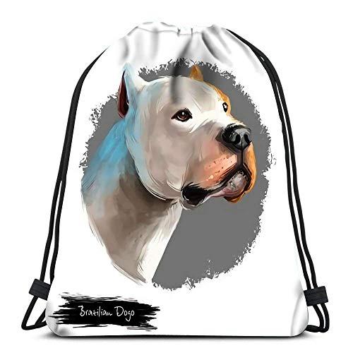 Cordón Bapa Bolsas Brasileñas Dogo Perro Raza Blanco Arte Digital Dogge Molosser Plegable Cincha Bolsas