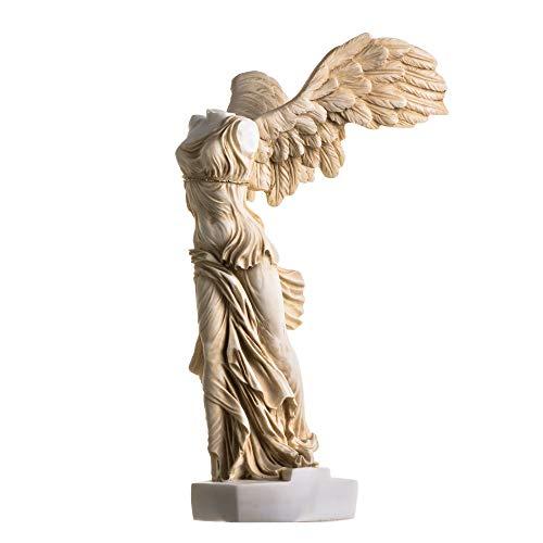 Estatua de la victoria alada de la samotracia, tono oro, Alabastro antiguas ruinas del museo del Louvre figura de 13.8 pulgadas