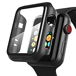 OJOS Compatible with Apple Watch 44mm Series 5 Case Matte Finish with Built-in 9H Hardness Tempered Glass Screen Protector, Full Coverage Hard iWatch Case for Series 4 (Matte Black),OJOS