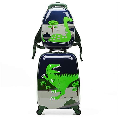 Juego de equipaje de viaje para niños con 18 pulgadas, 2 piezas de patrón de dibujos animados de animales Maleta dura con ruedas, ideal para niños, escuela, presente,Dinosaurs,18+13inches