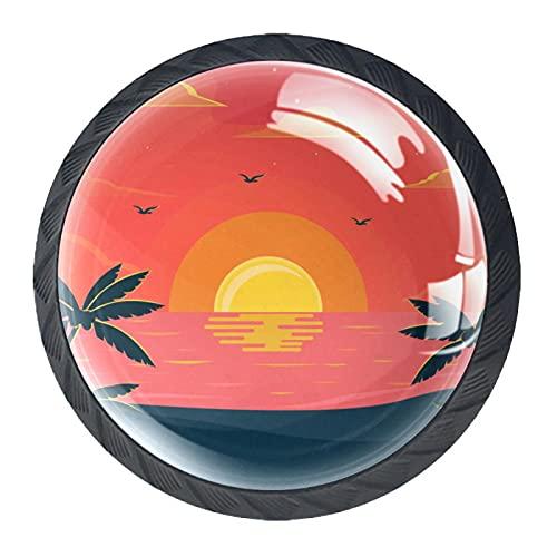 Fantastic Beach Sunset, 4 pomos y asas para gabinete de cocina de 4 x 3,8 cm, juego de pomos para cajones