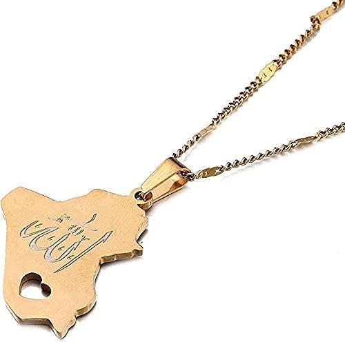 Collar de Acero Inoxidable Tarjeta de la República de Irak T Collier Nombre de Allah Allah Heart Charm Joyería Regalos