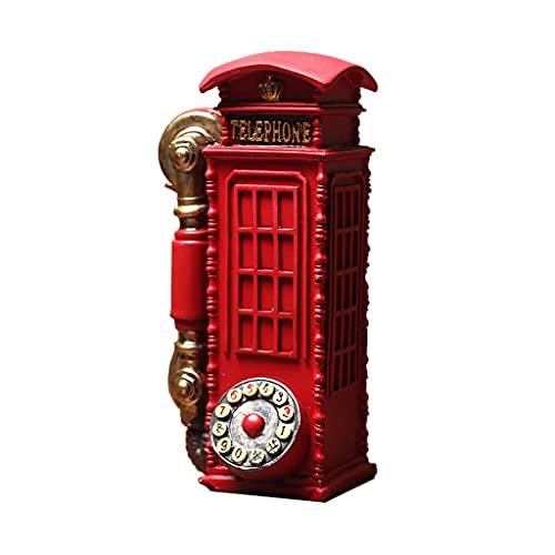 YHYH Hucha Teléfono Teléfono Booth Caja De Monedas Resina Mini Money Cambio De Repuesto Pot Retro Londres Street Delicate Encantador (Color : 2pcs)
