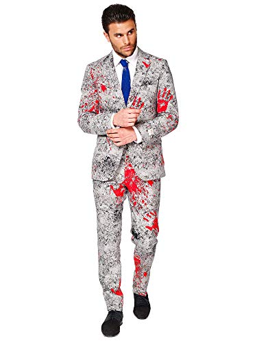 OppoSuits Halloween Suit For Men In Creepy Stylish Print – Zombiac – Full Set: Includes Jacket, Pants and Tie Traje de Hombre, Gris, 94