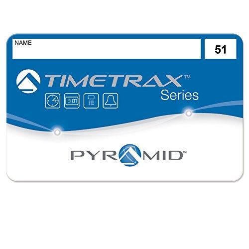 Pyramid Time Systems Trax 41304 Swipe Cards (51-100) for TTEZ, TTEZEK, PSDLAUBKK, TTPRO, TTMOBILE, FASTTIME 8000 & 9000 Time Clock Systems, 50/Pk. Magnetic Strip Employee Card, Blue/Black/White