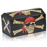 Brynnberg Caja de Madera Cofre del Tesoro Pirata - Hecha a Mano (Negro, S 24x12x13cm)