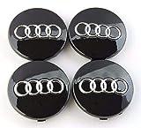 4 Stück Nabendeckel Schwarz Radzierkappen 60mm Durchmesser für Audi Felgen Wheel Centre hub caps Nabenkappen Radnabenabdeckung Kappen Satz ø 6cm