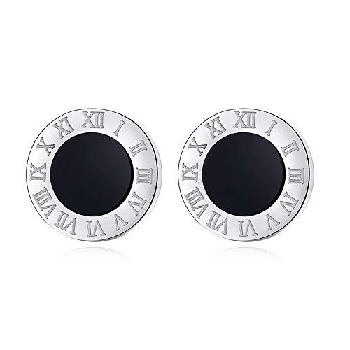 BOSAIYA Pendientes de acrílico acrílico de acrílico de acrílico para Mujer Hombres Joyería Vintage Números Romanos Pequeño Pendiente TL (Metal Color : Silver Black 1)