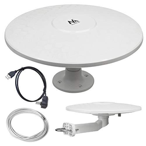Maclean MCTV-947 - Antenna omnidirezionale multidirezionale per esterni, antenna TV attiva (Camper - USB   12 24 V)