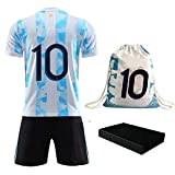 Rainbirth Soccer Jerseys for Kids Youth Boys Football Shirt Uniform & Sport Backpack Birthday Gift for Fans (12-13Years/size28) Blue White