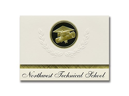Signature Announcements Northwest Technical School (Maryville, MO) Graduation Announcements, Presidential style, Elite package of 25 Cap & Diploma Seal. Black & Gold. -  Signature Announcements, Inc, PAC_ELITEPres_HS25_118188_212320