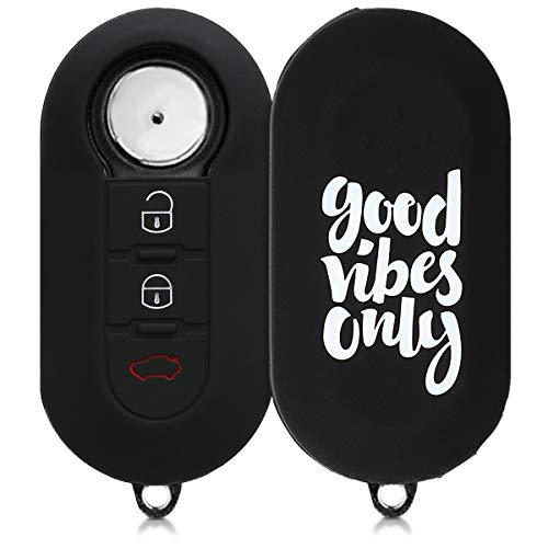 kwmobile Cover chiave compatibile con Fiat Lancia con 3 tasti pieghevole - Guscio protettivo coprichiave morbido silicone TPU - Good Vibes bianco/nero