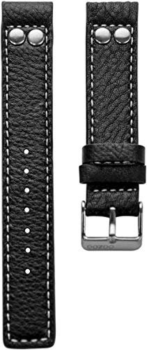 Oozoo Armband - Ersatzarmband für Oozoo Uhren etc. - 22 mm - Farbe : Schwarz/Niete