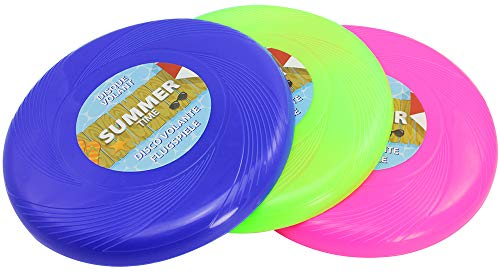 com-four® 3X Frisbee pour Enfants et Adultes - Disque Volant pour Chiens - Disque Frisbee 25 cm - Disque Volant aux Couleurs Vives
