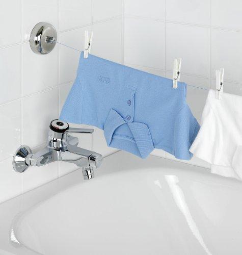 WENKO 3726410100 Wäscheleine Bath - 2,5 Meter, ausziehbar mit Automatik, Edelstahl rostfrei, 9 x 5.5 x 9 cm, Silber glänzend