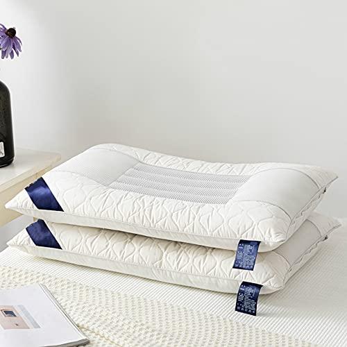MRBJC Almohada con función de látex, almohada suave para dormir de lado y dormir de espalda, látex natural, transpirabilidad, alta elasticidad, blanco 48 x 74 cm
