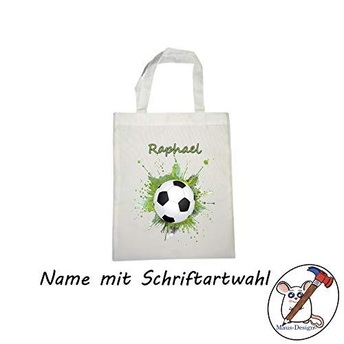 Fußball Stoffbeutel mit Name/Schriftartwahl/Tasche/Stofftasche/Einkaufstasche/Kindertasche/Geschenkidee/Vorschule/Fußballer