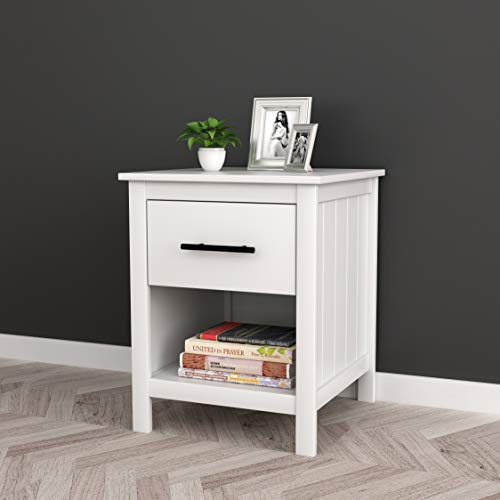 White Finish Nightstand Side End Table with Drawer and Open Shelf 22' H
