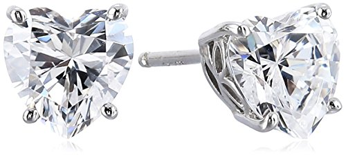 Platinum Plated Sterling Silver Heart-Shape Stud Earrings made with Swarovski Zirconia