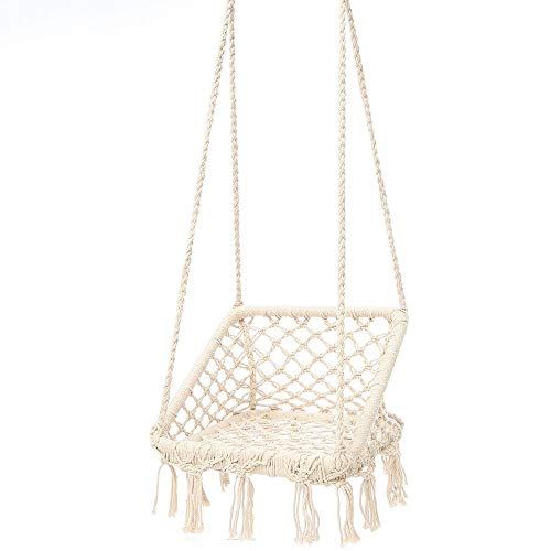 Hammock Chair Macrame Hammock Chair Hanging Cotton Hammock Tassel Swing Bed Porch Garden Hammock Chair (Color : Beige, Size : 50x50x34cm)