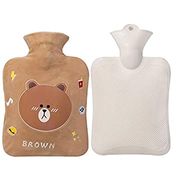 Small Hot Water Bottle 1 Liter Water Bag with Cute Fleece Cover Gifts for Women and Men Brown Bear