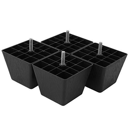 Bankpoten 4-delig Rechthoekige bankpoten Zwart Mat PP Plastic M8 Schroefkast Meubelaccessoires perfecte vervanging