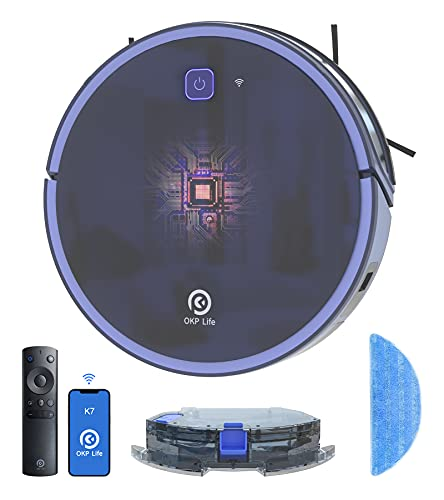 OKP Robot Aspirador, 2200Pa Robot Aspirador y Fregasuelos , Muy Adecuada para Pelo de Animales, alfombras y Suelos Duros, Compatible con Alexa y Google Assistant Mapa