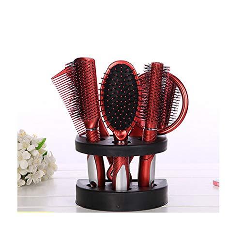 FRYH 5pcs Brosse à Cheveux Peigne Ensemble Dames Soins des Cheveux Coffret Cadeau Brosse avec Brosse à Cheveux Peigne Miroir Brosse De Massage De Soins Capillaires,Red