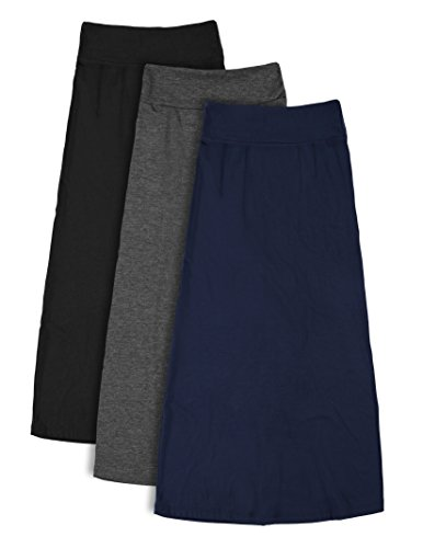 Free to Live 3 Pack Girl's 7-16 Maxi Skirts (Black, Charcoal, Navy), Large