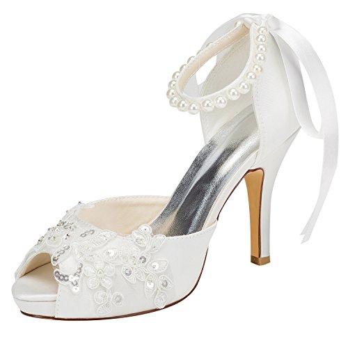 Emily Bridal Zapatos de boda Peep Tacón Alto Marfil Correa de Tobillo...