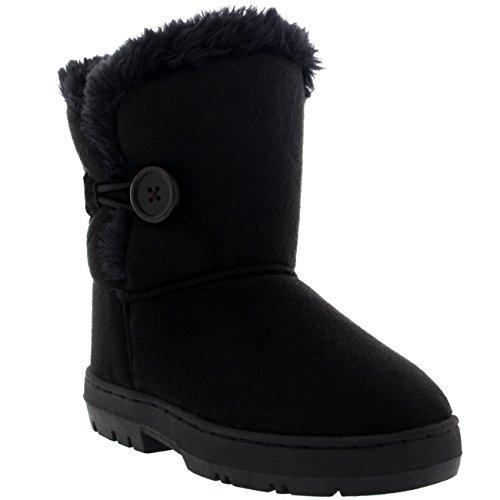 Kinder Mädchen Button Winter Pelz Gefüttert Schnee Regen Gemütlich Lässig Warm Stiefel, Gr.-33 EU, Schwarz