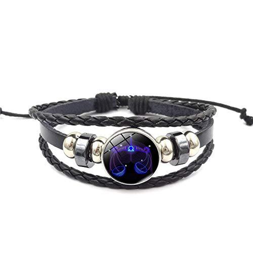 Pulseras para mujer, 12 constelación estrella signo pulsera hombres mujeres pulseras cuero trenzado accesorios mujer cuero (K)