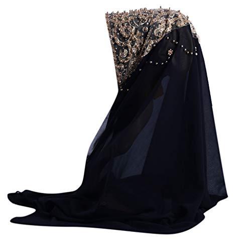 Lazzboy Plain Chiffon Muslim Hijab Schal Halstuch Damen Kopftuch Gesichtsschleier Glitzernder Turban Hidschab Diamanten Islamischen Abaya Dubai Frauen Ramadan Kopfbedeckung Bandana(C)