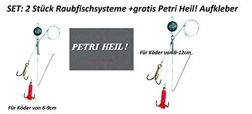 Jenzi Set: 2 Stück Raubfischsystem Spinn System für Köderfisch, 2 Verschiedene Größen + gratis Petri Heil! Aufkleber