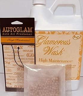 Tyler Candle Glamorous Wash Half Gallon (64 OZ) Laundry Detergent/Bonus Glamorous Sachet Single Pouch and Autoglam (High Maintenance)