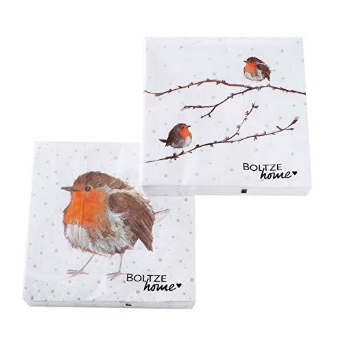 2 x 20 Servietten Winter Weihnachten Weihnachtsservietten 'Rotkehlchen' - 33 x 33 cm