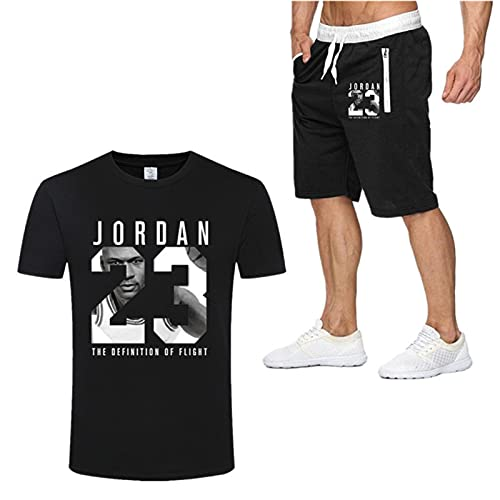 Jordan Bulls # 23 - Traje de camiseta y pantalones cortos para hombre, diseño de baloncesto y media manga deportiva, ropa deportiva para fitness, chaleco ligero y transpirable, color negro - 2XL
